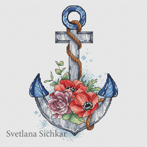 Anchor with flowers
