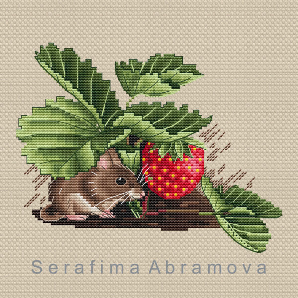 Mouse in Strawberries